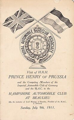 1911 Royal Automobile Club Visit Of Prince Henry Of Prussia,  Beaulieu Programme
