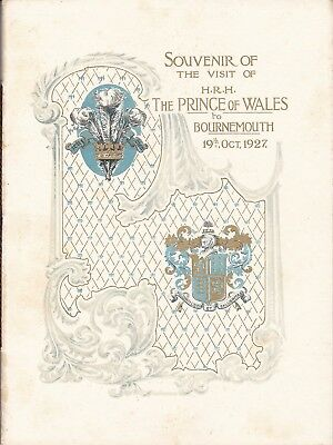 Bournemouth 1927 Visit Of Prince Of Wales (Edward 8Th) Souvenir Booklet