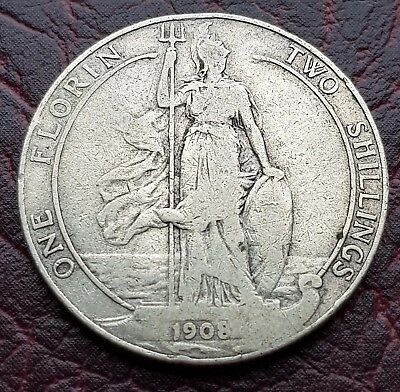 (R55) Uk British 1908 Silver Florin/two Shilling Coin
