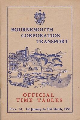 Bournemouth 1953 Corporation Transport Time Tables