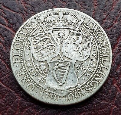 (D53) Uk British 1900 Silver Florin/two Shilling Coin