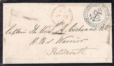 Hms Warrior 1862 Admiralty Envelope & Letter To Captain Cochrane At Portsmouth