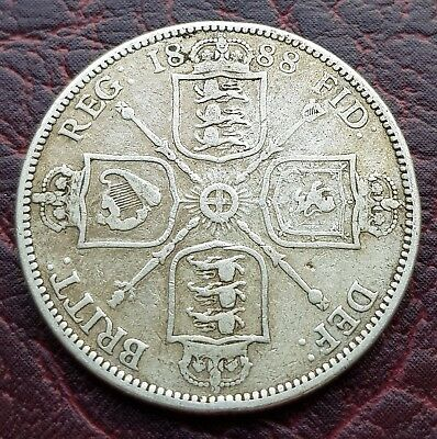 (R3) Uk British 1888 Silver Florin/two Shilling Coin