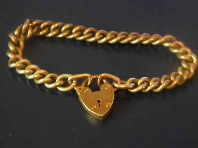 Victorian Yellow Metal/Rolled Gold Curb Bracelet with Heart Padlock Clasp