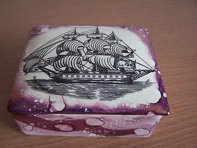 Grays Pottery Pink Lustre Lidded Box Pot With Clipper Ship Image on Front