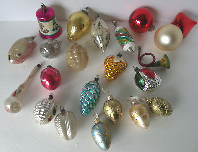 Lot 22 Antique Vintage Christmas Ornaments Germany Poland USA Mercury Glass