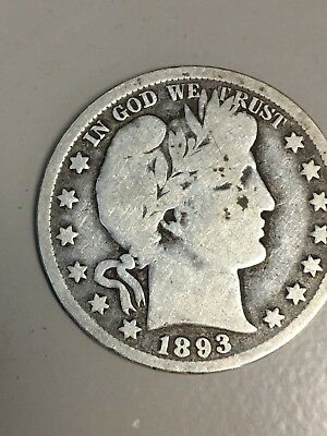 1893 Barber  Half Dollar - Good - Silver - 0.99 Shipping-US only