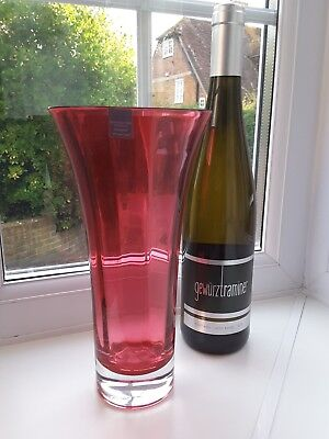Dartington ruby and clear fluted art glass vase with etched makers mark.
