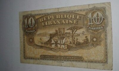 Lebanon banknotes, 10 Piasters 1944, P-39 High Value Note.
