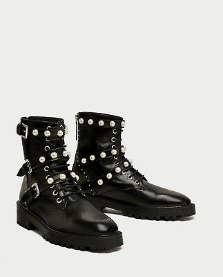 Zara New Leather Ankle Boots With Faux Pearls Black Chunky Lace Size Uk 2-9