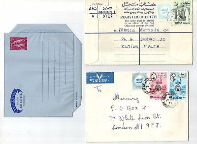 Bahrain 4 covers, Registered cover, Aerogram, first flight and Air mail cover,