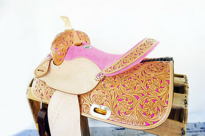 """15"""" Pink Bling Western Cowgirl Rodeo Show Horse Barrel Racing Leather Saddle"""