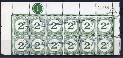 Ghana 1965 Postage Due 2p on 2d Control / Number block with PERF SHIFT SGD20