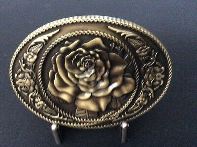 New Antique Bronze Rose Flower Belt Buckle