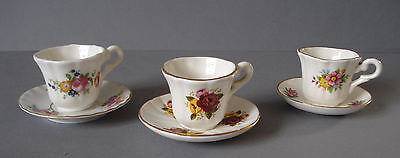 3 x MINIATURE PORCELAIN BONE CHINA CUPS AND SAUCERS - FLORAL