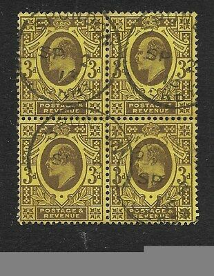 EDWARD VII 3d PURPLE & YELLOW VALUE IN BLOCK OF 4 FINE US£D