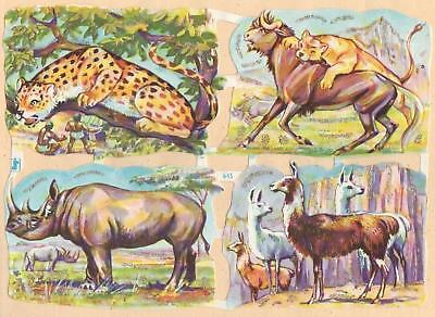 Vintage die cut scraps german sheet WS Nº 645 with glitter - wild animals