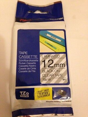 Brother Tze-131 P-Touch Tape Cassette 12Mm Laminated Black On Clear Tape