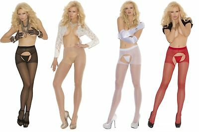 Sheer Crotchless Tights, Elegant Moments, Suspender Pantyhose, Open Crotch