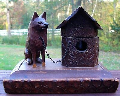 Antique Carved Wood Dog Chained To Doghouse Inkwell & Pen Rest Black Forest