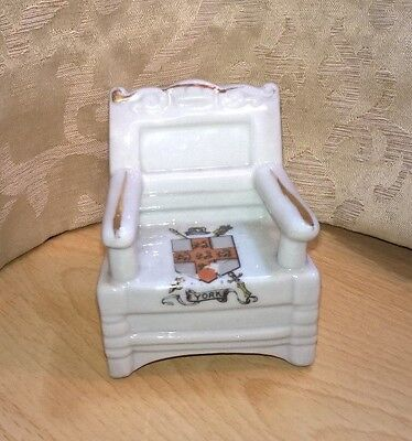Vintage Crested Ware Large Chair - York.  Germany 3481