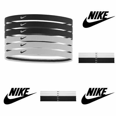Nike Swoosh Sport Headbands Black White 6 Pack One Size Fits Most