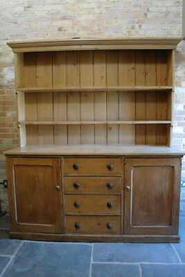 Large Vintage Pine Farmhouse Dresser Cupboard Cabinet