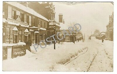 1908 RP PC of Snowstorm at Eastleigh, near Station, with Eastleigh RSO postmark