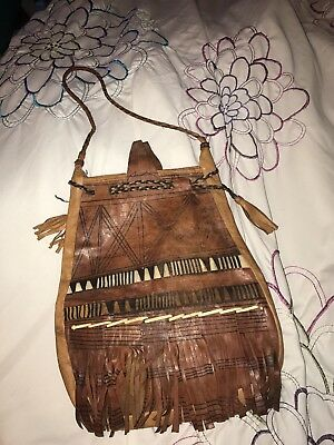 """Antique 20"""" American Indian PIPE BAG W Design Native American 1890s Earlier!"""
