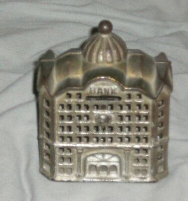 Vintage Cast Iron Bank Building Coin Bank