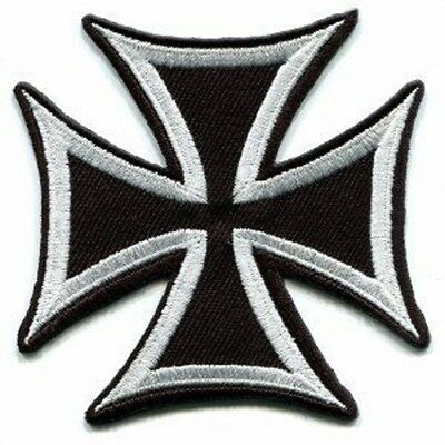 Maltese Iron Cross Embroidered Biker Patch Iron On Sew On