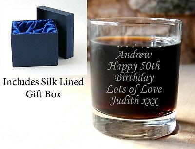 Engraved personalised glass whiskey whisky glass tumbler + silk lined gift box