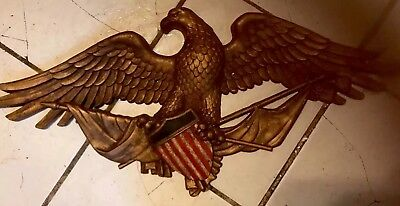 """LARGE Antique American Eagle 28"""" Wall Mount Gilded GOLD Heavy Plastic Painted 🦅"""