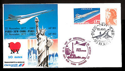 22-23.11.1987 AF CONCORDE 10th ANNIVERSARY FLOWN COVER_PARIS - NEW YORK - PARIS