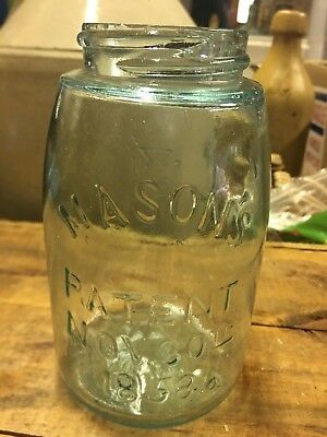 Maltese Cross Midget Mason Patent 1858 Antique  Fruit Jar