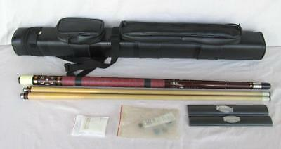 "Adams ? 57"" Pool Cue With 2 Shafts And Case Weight 22 Ounces Nice Quality"
