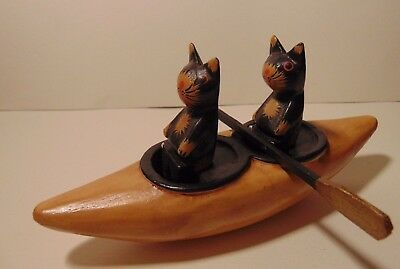Cute Vintage Wooden Cat Figurine Cats in Kayak