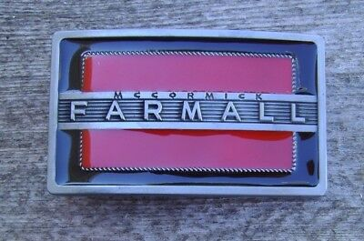 McCormick Farmall Belt Buckle Antique Silver With Red / Black Enamel NEW