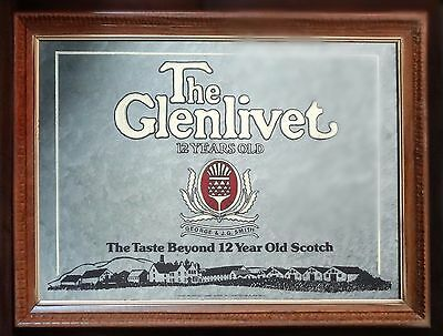 """Framed """"the Glenlivet: The Father Of All Scotch"""" Mirror Sign - Since 1824"""