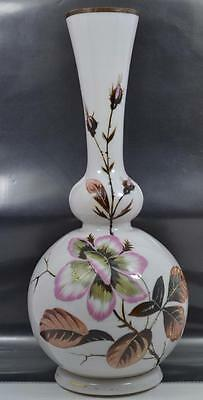 antique Bohemian Harrach Czechoslovakia  Art Nouveau  opaline vase signed 31 cm