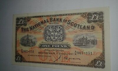 Scotland National Bank Banknote, One Pound 1947 VF+++
