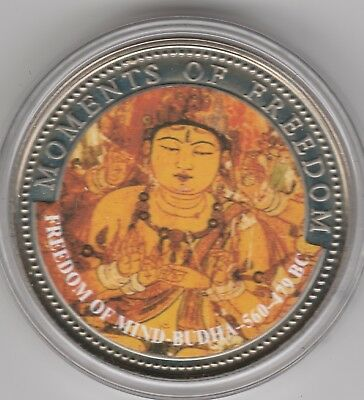 Freedom of Mind Buddha on 2001 Liberia 10 dollars UNC coin - Moments of Freedom