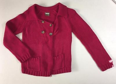 OUCH girls size 5 cotton knit cardigan like new cherry red pink designer kids