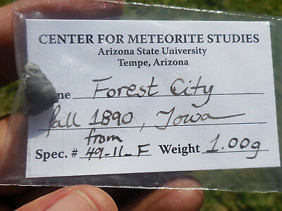 1.0 gram FOREST CITY METEORITE - 1890 fall in IOWA (H5) ASU Label/Provenance!