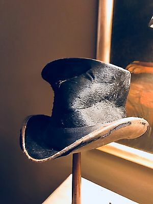 Antique Black Stovepipe Beaver Top Hat worn...still has quite a lot of character