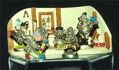 Santa Claus with 6 Elves Pewter hand painted and Resin  Display Grea