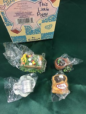 Enesco This Little Piggy Gardening Mini Accessories Mini Figures Set of 4 New