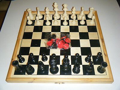 chess stauton set vintage + Board  king  3 And 3/4 Inches high condition Used