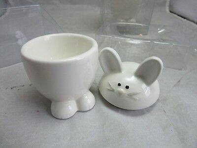 4x tag Egg cup & box ceramic Easter Bunny. NEW