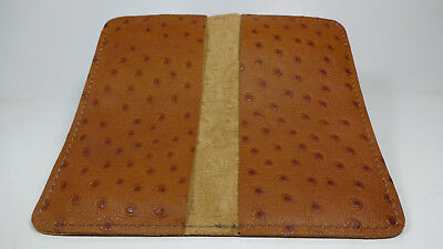 Bay State Exclusive Tan Ostrich Leather Standard Checkbook Cover-Made In USA